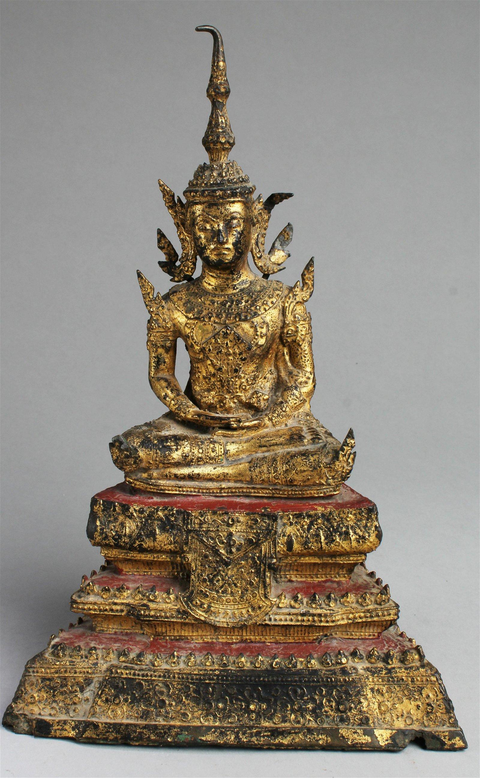A Gilt Bronze Thai Buddha Statue