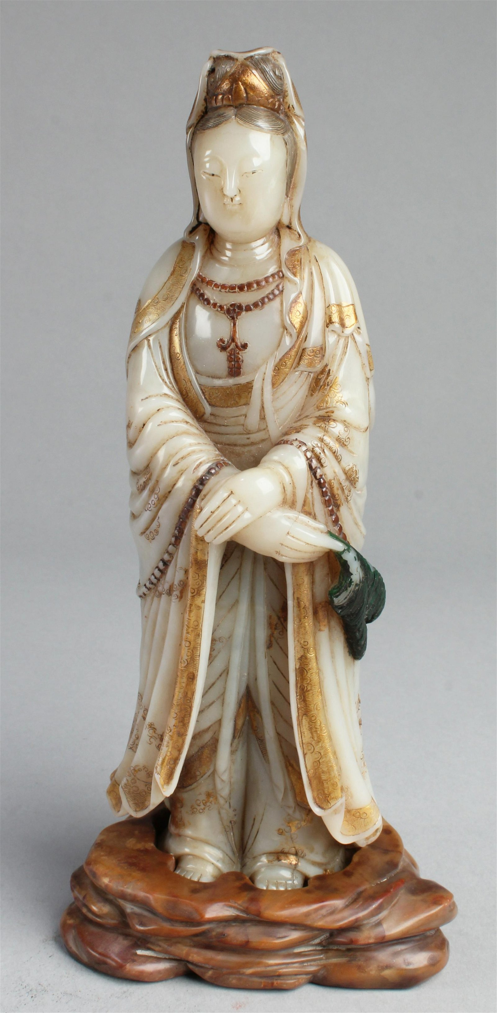 Chinese Soapstone Guanyin Statue with Stand
