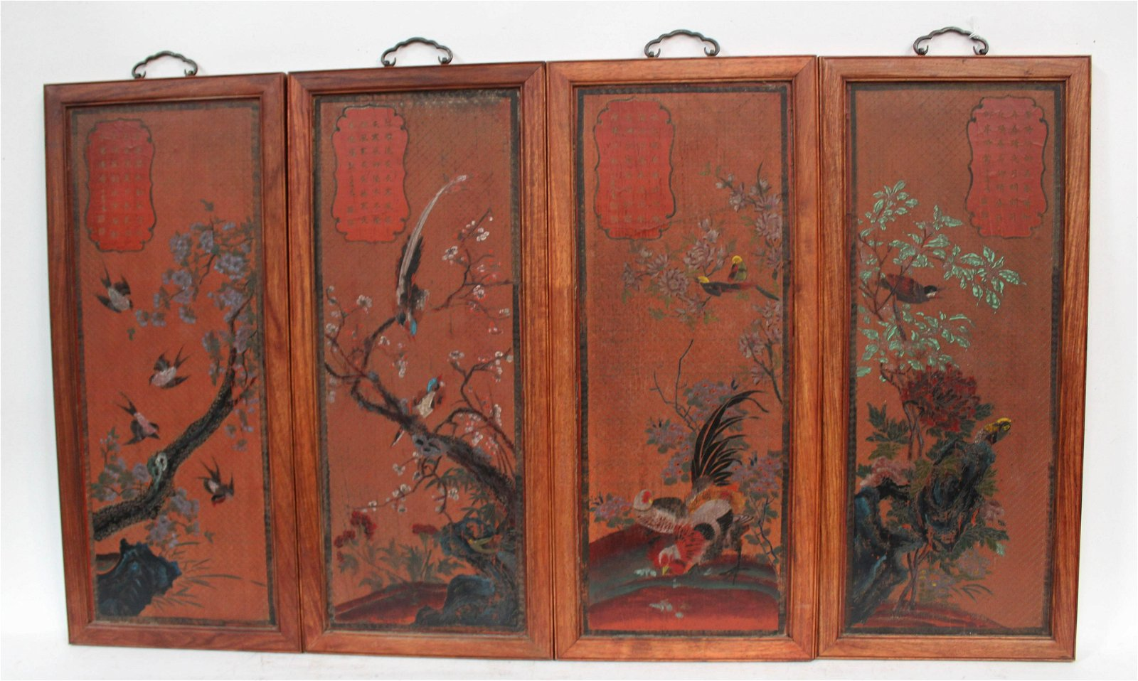 A Set of Four Hardwood Framed Double-Sided Lacquer