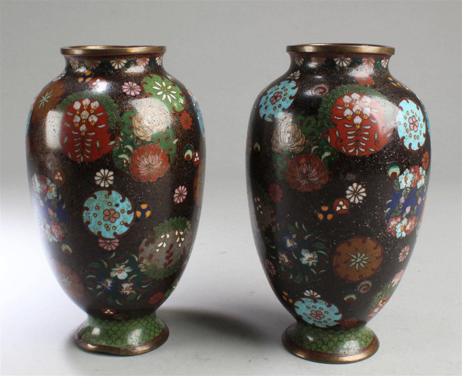 A Pair of Antique Cloisonne Vases