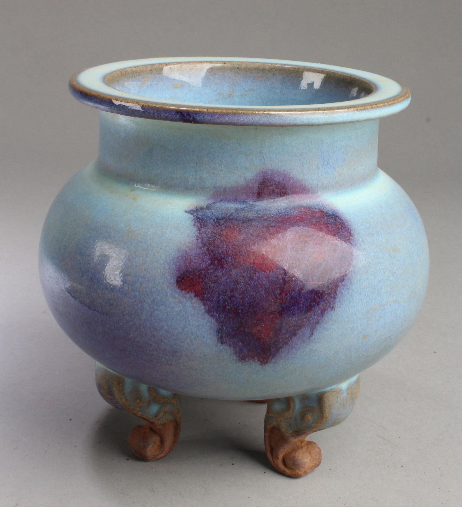 Chinese Junyao Tripod Porcelain Censer