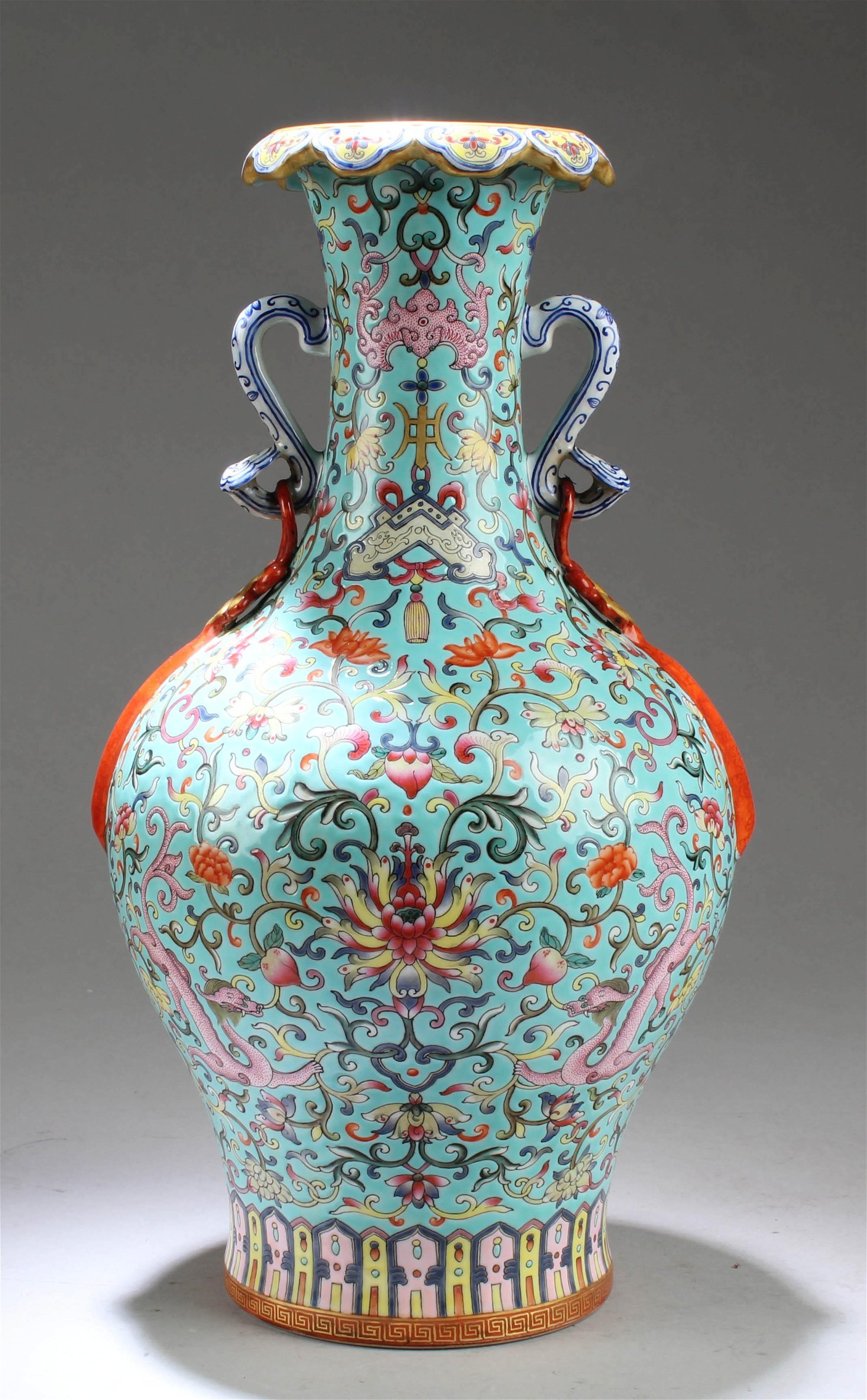 Chinese Famille Verte Porcelain Vase with Twin Handles