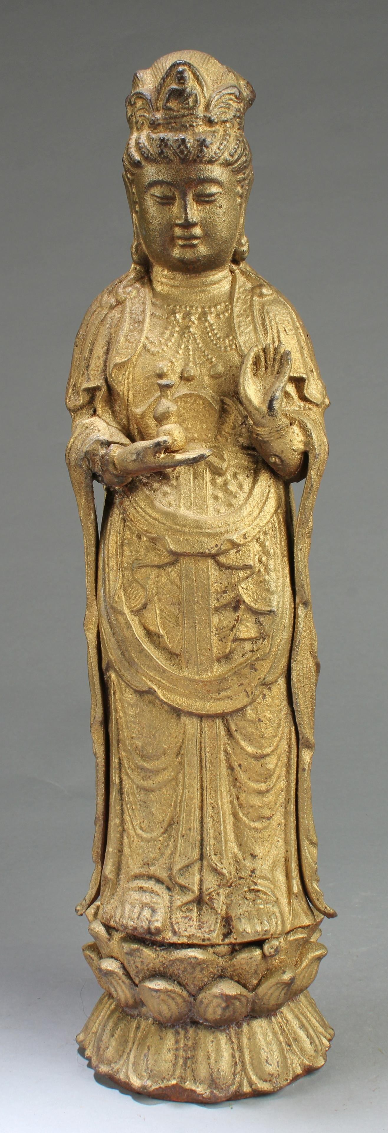 One Cast Iron Bodhisattva Statue