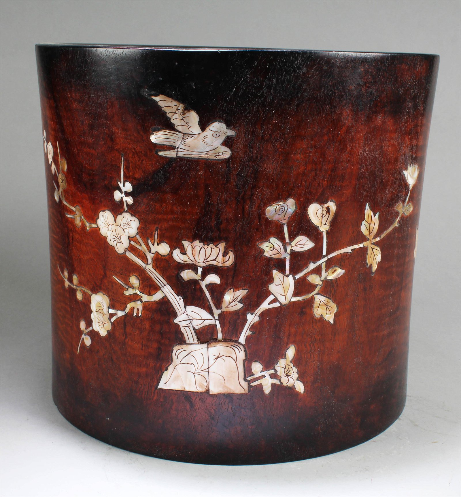 A Large Chinese Wooden Brushpot with Mother Pearl Inlay