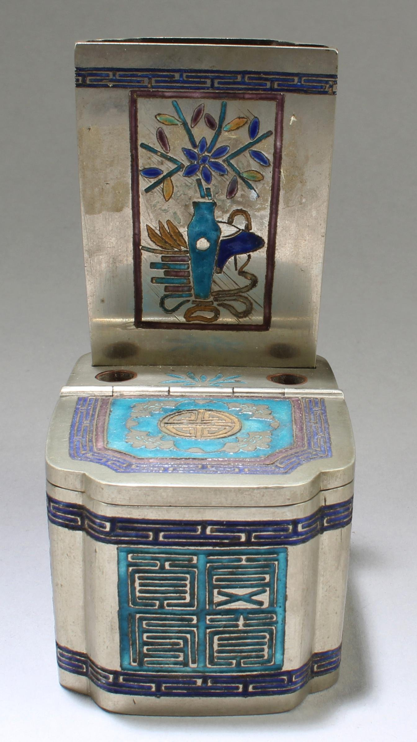 A Bronze FaLangCai Pen Holder cum Ink Box