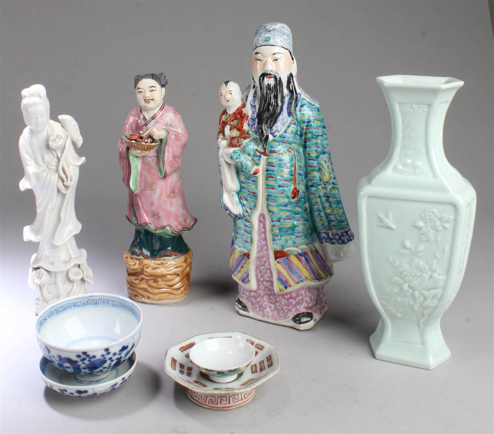 A Group of Six Antique Chinese Porcelain Ornaments