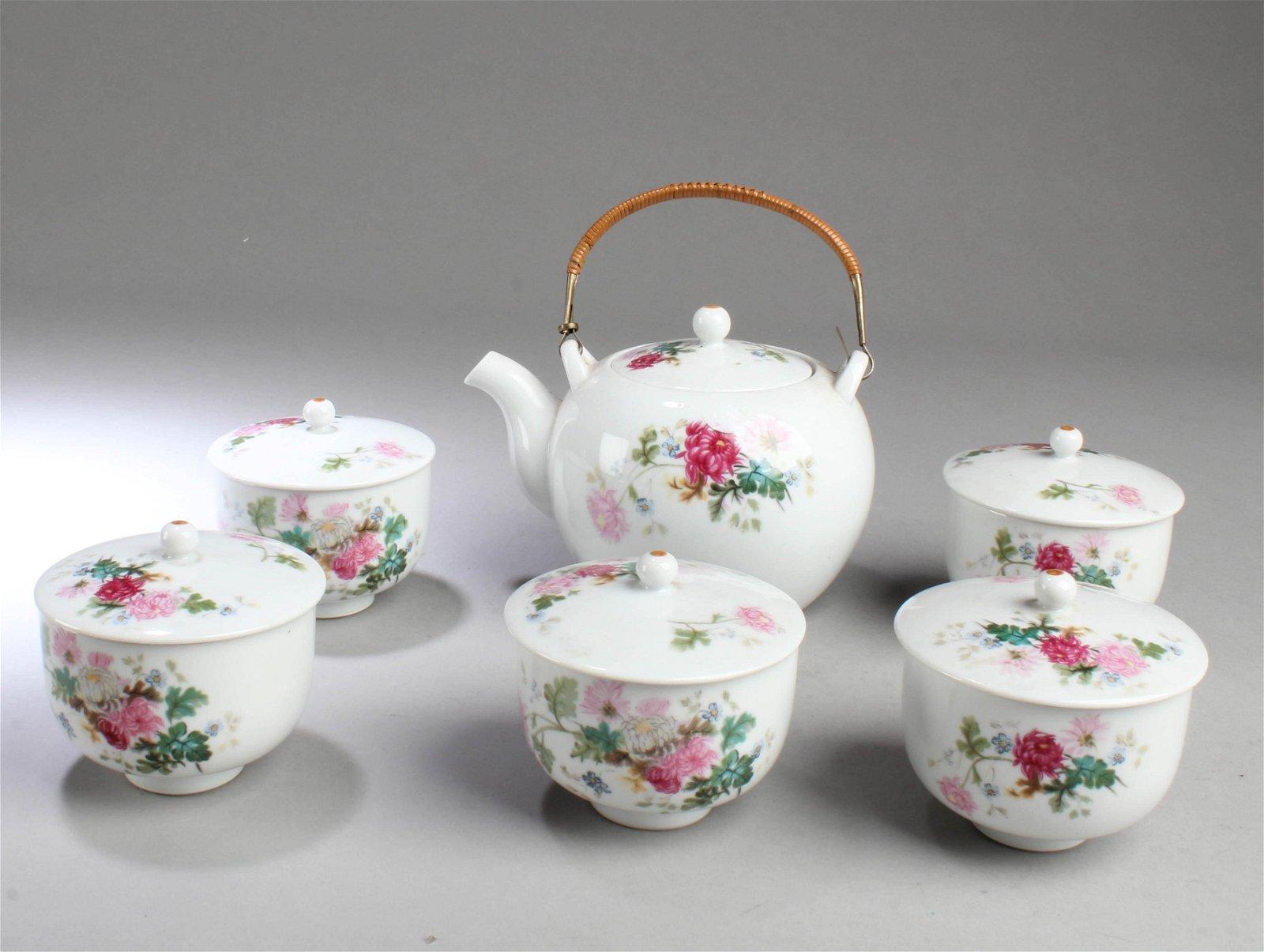 Antique Porcelain Teapot & Five Cups