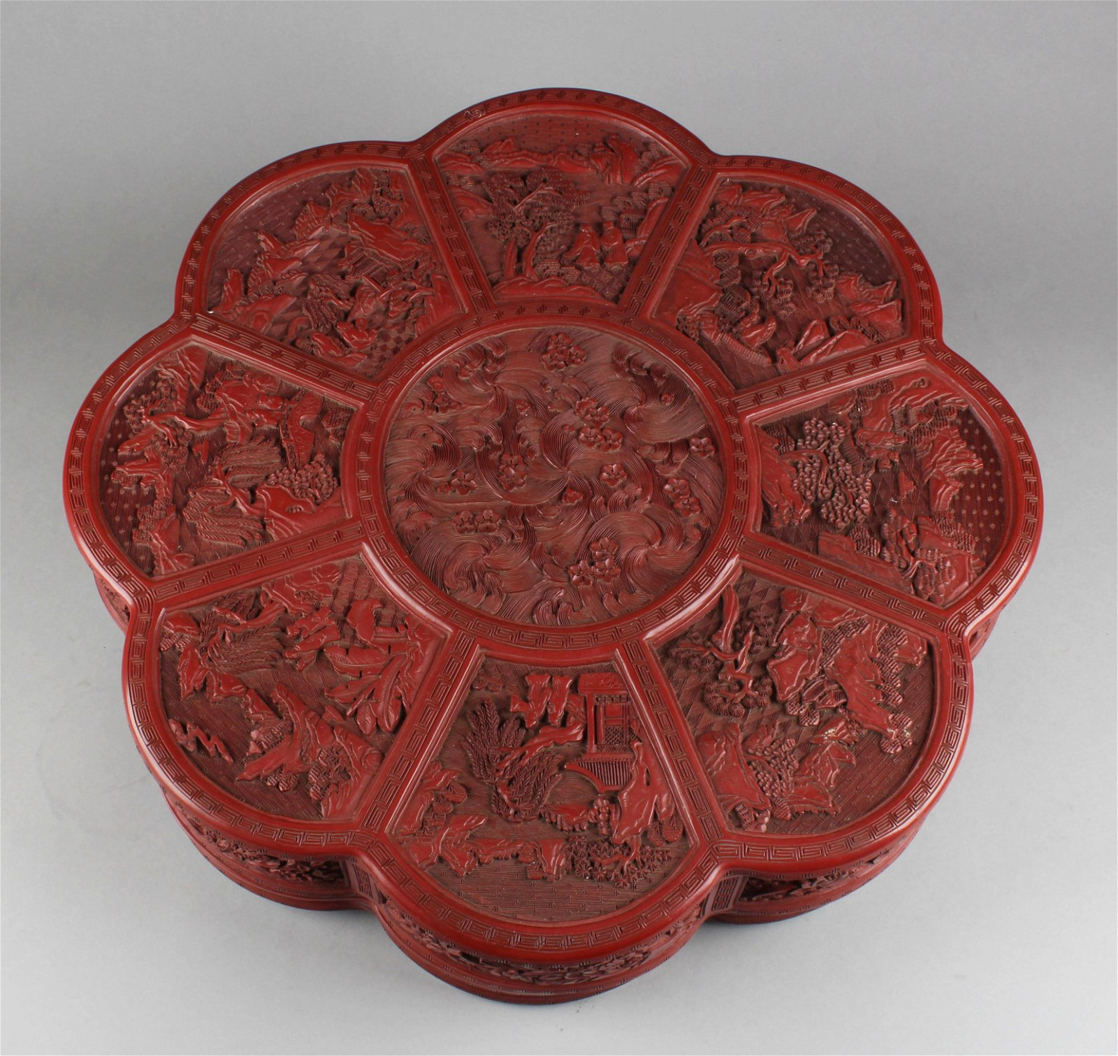 Antique Chinese Cinnabar Lacquered Octagonal Shaped