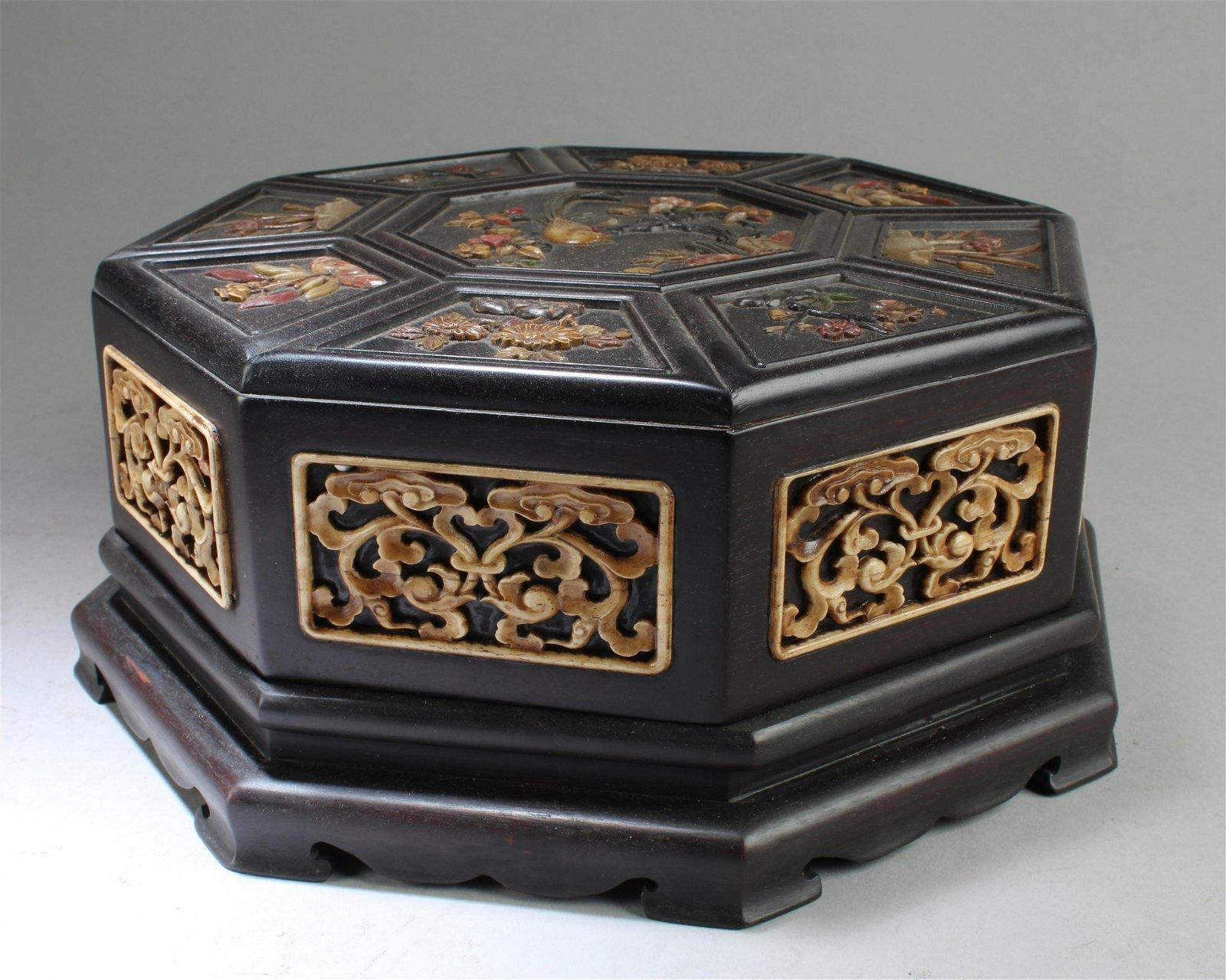 A Carved Hardwood (possibly Zitan) Octagonal-shaped