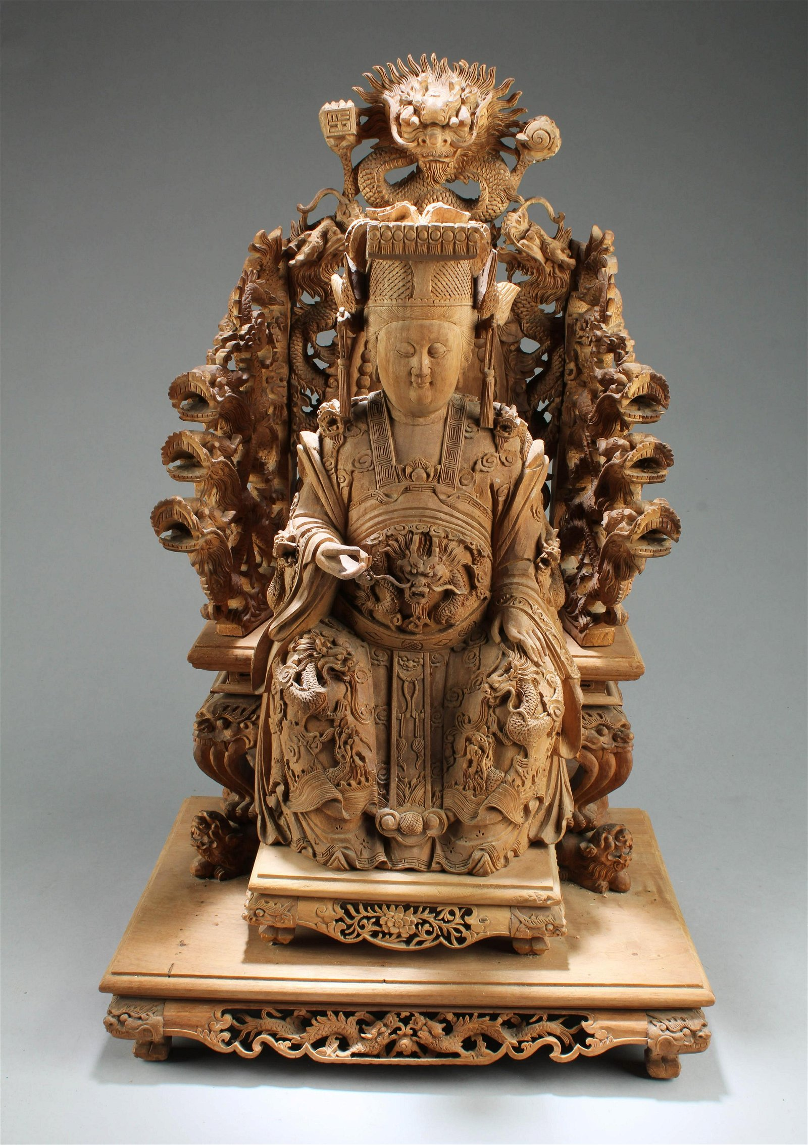 Chinese Carved Wooden Guanyin Statue