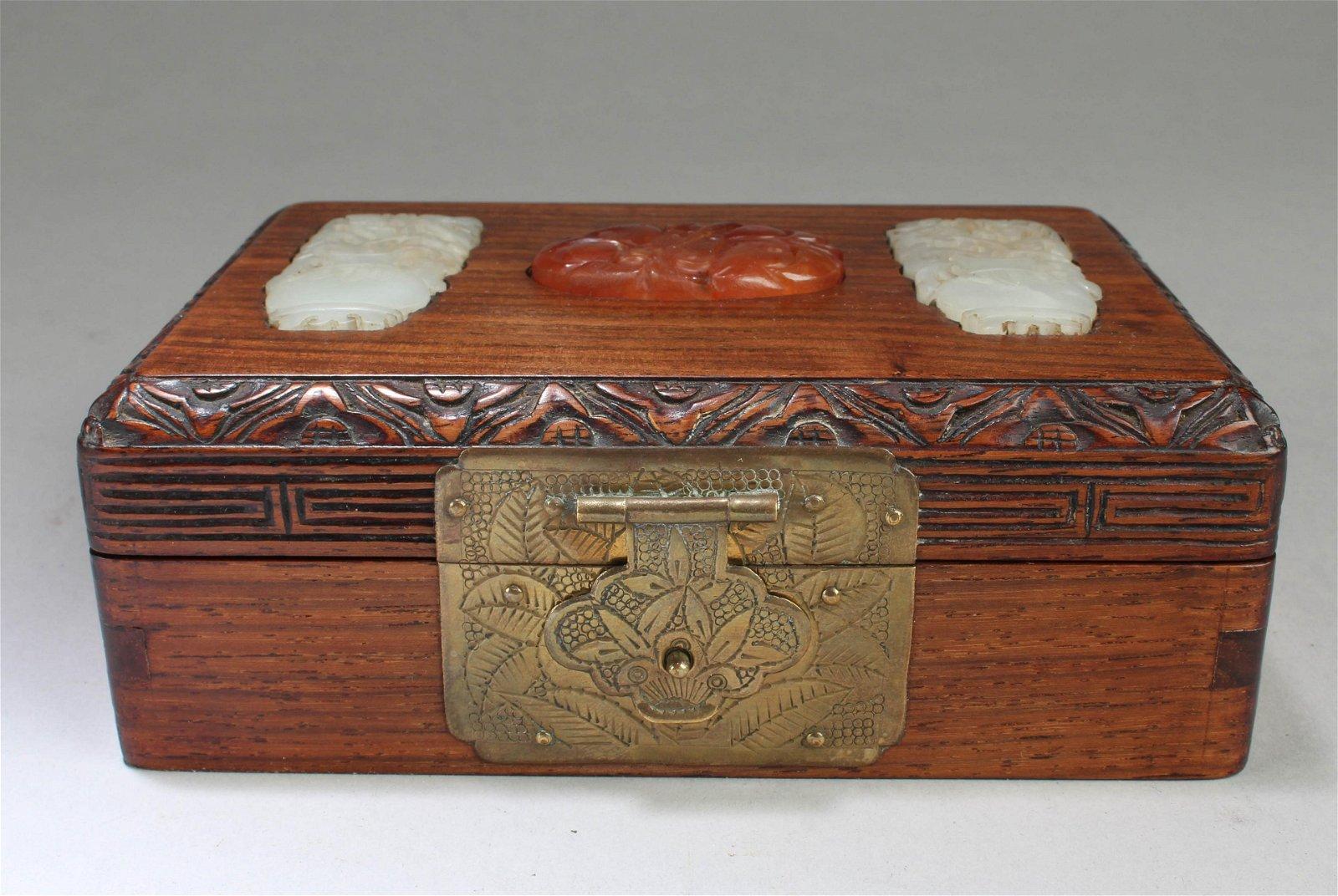 A Hardwood Box with Jade Inlay