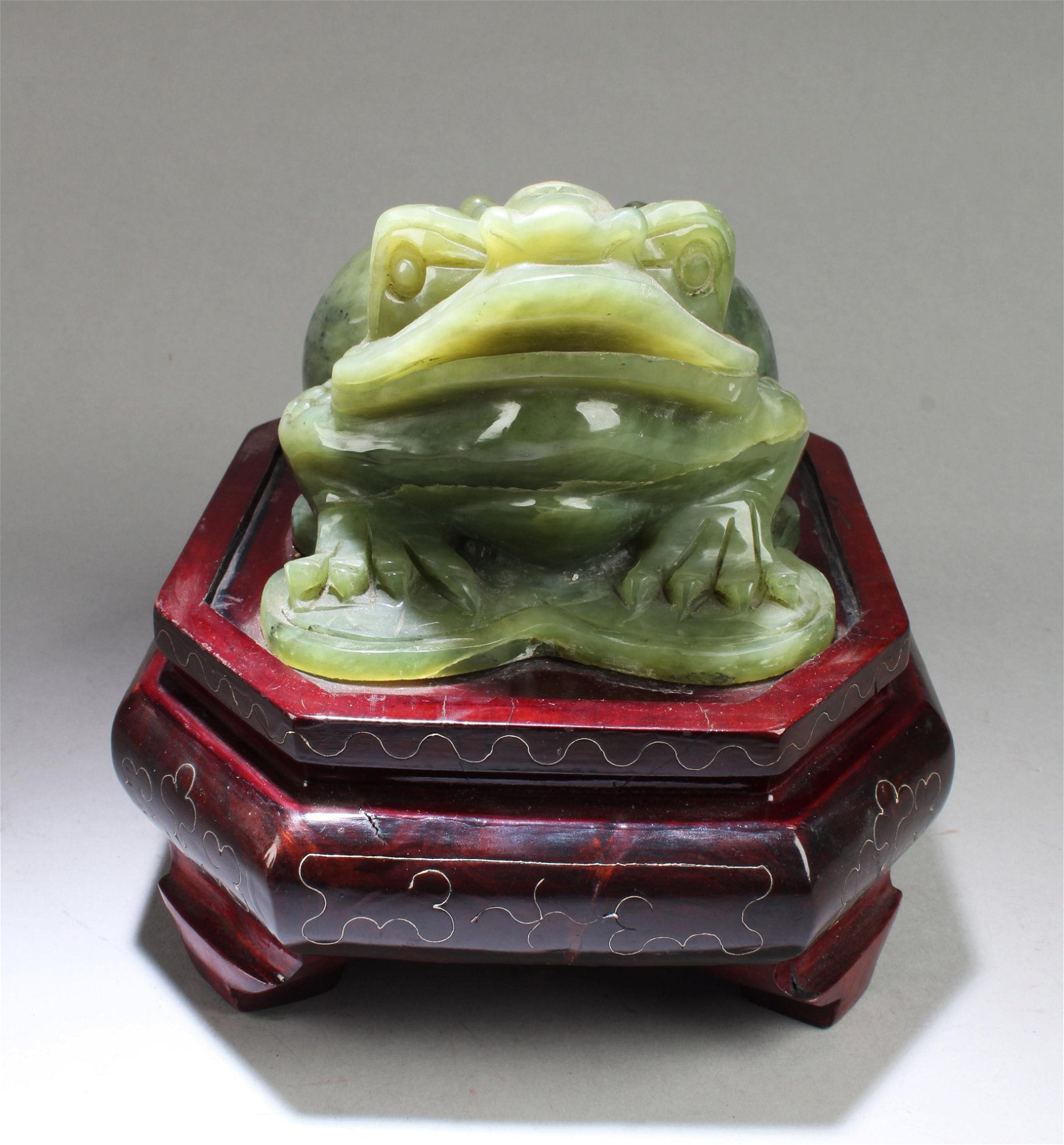 Chinese Jade Ornament With Wood Stand