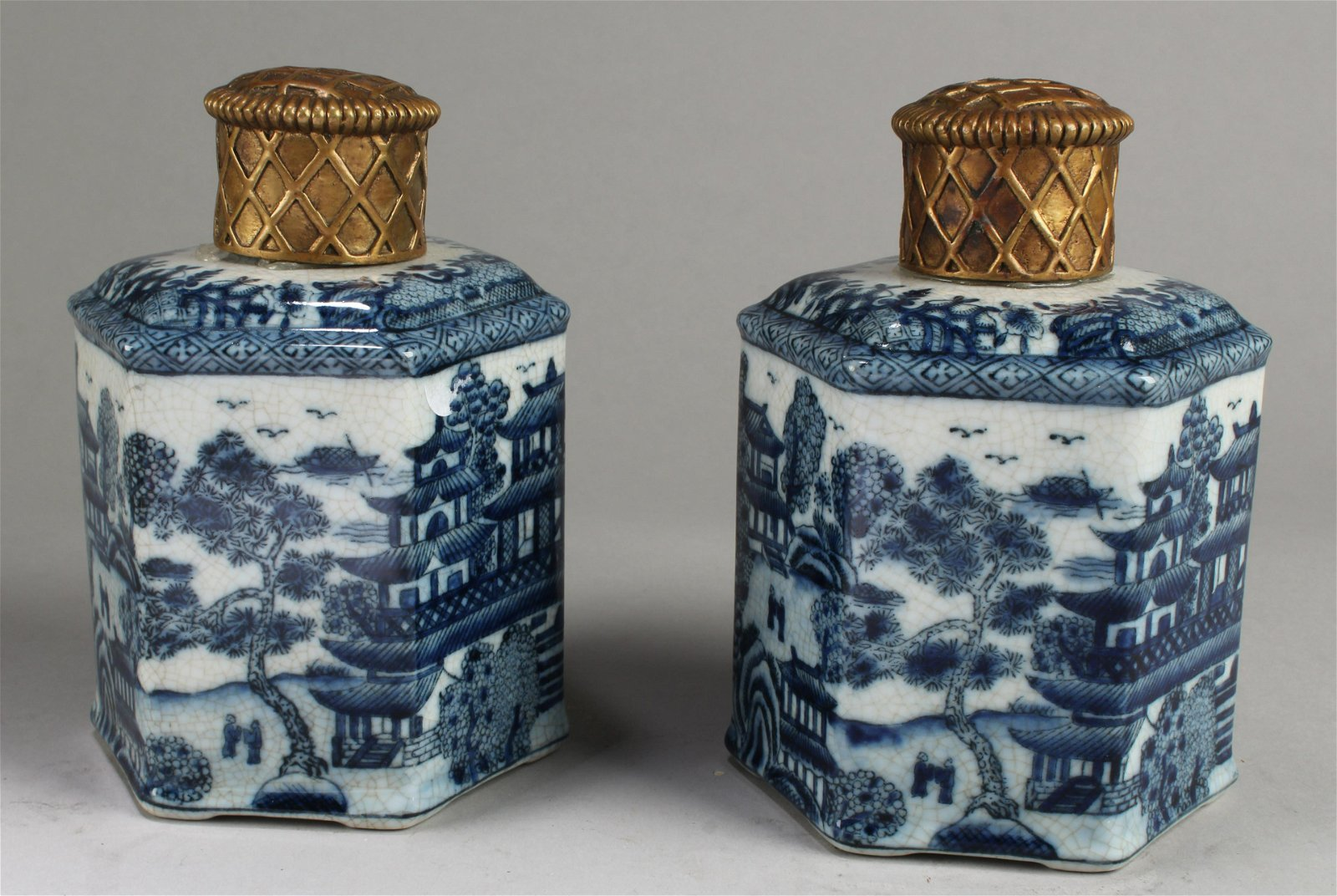 A Pair of Two antique Chinese Blue & White Hex Shaped