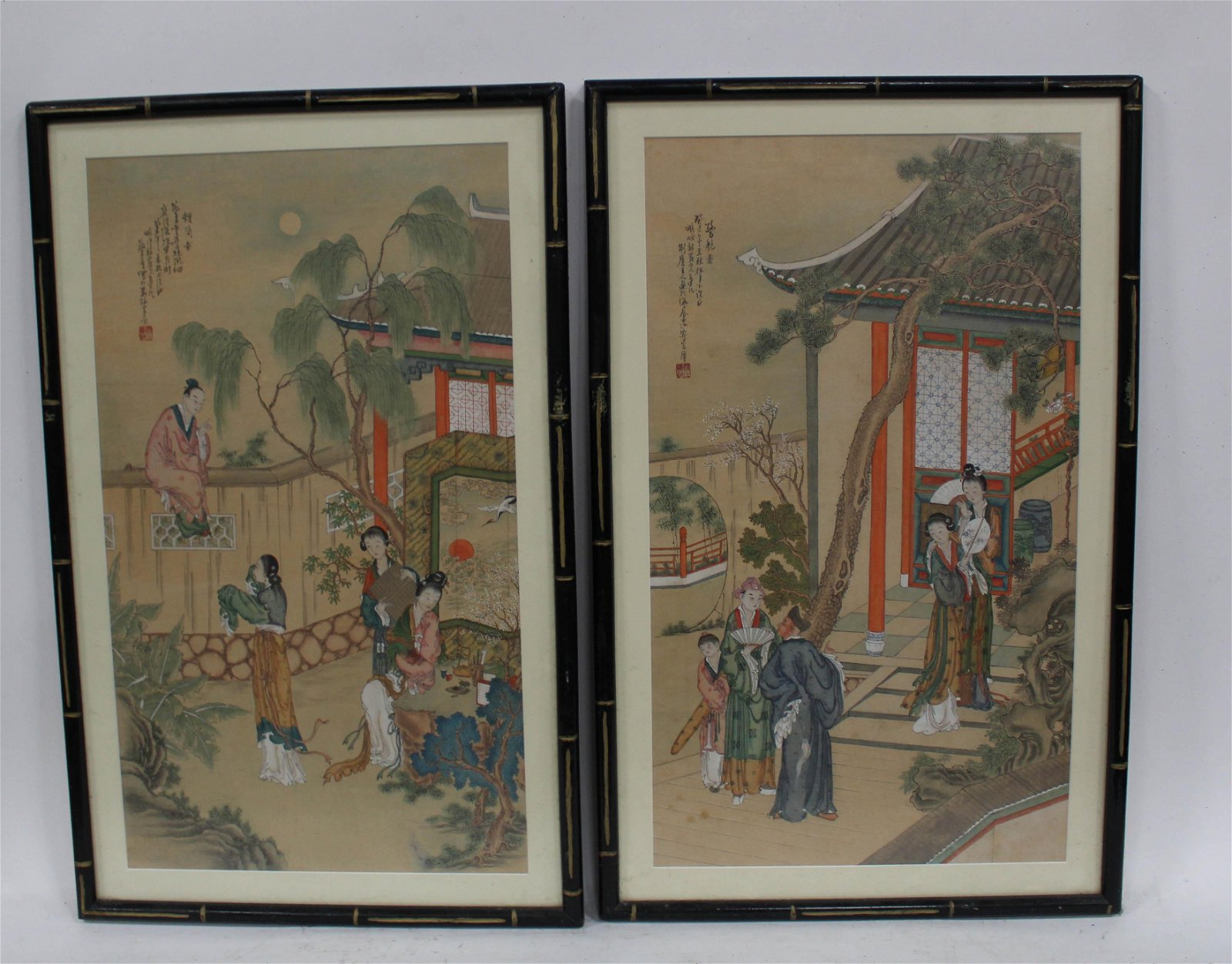A Pair of Chinese Framed Juan Painting
