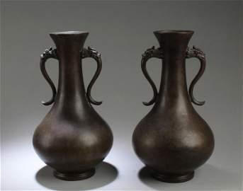 A Pair of Bronze Vase