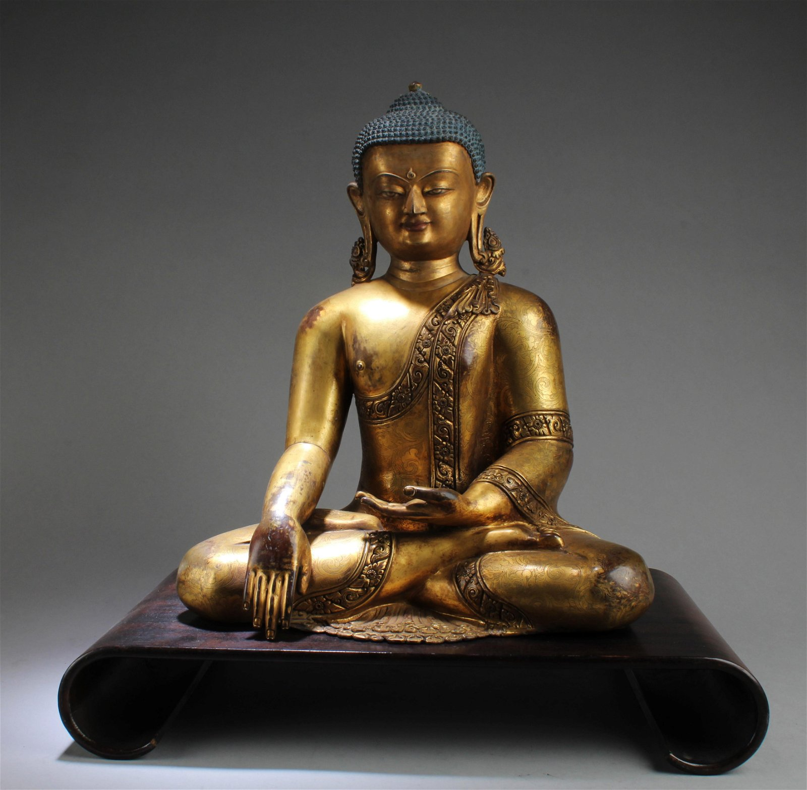 Antique Chinese Gilt Bronze Buddha Statue with Wood