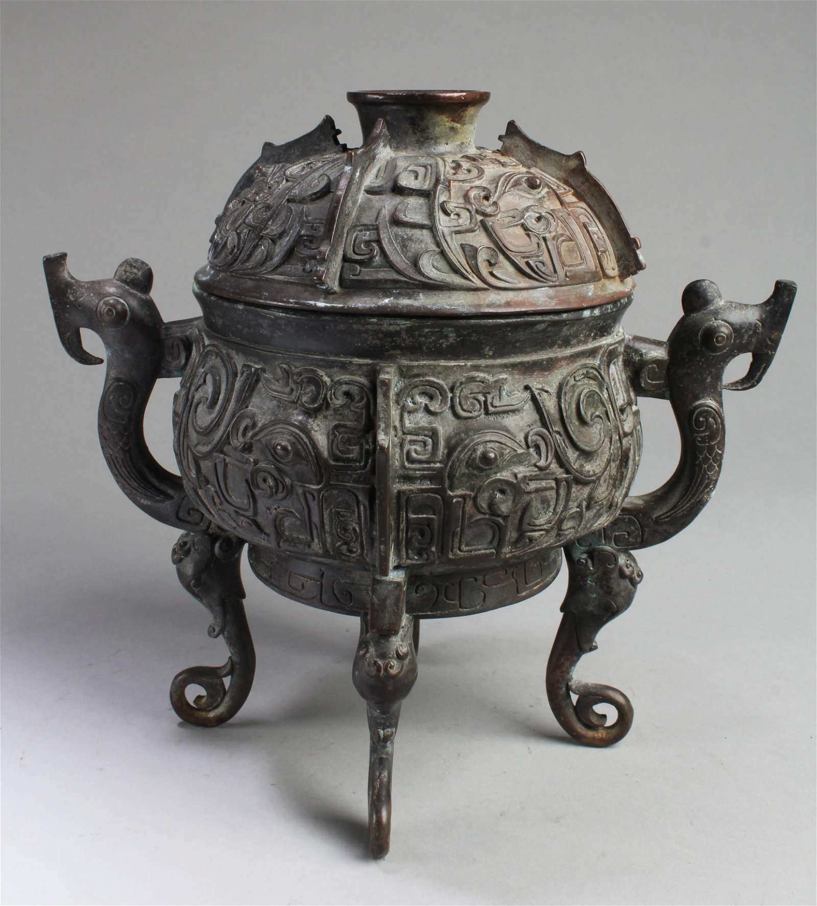 Chinese Bronze Censer with Cover