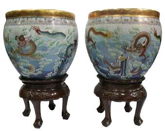A Pair of Two Chinese Cloisonne Fishbowl