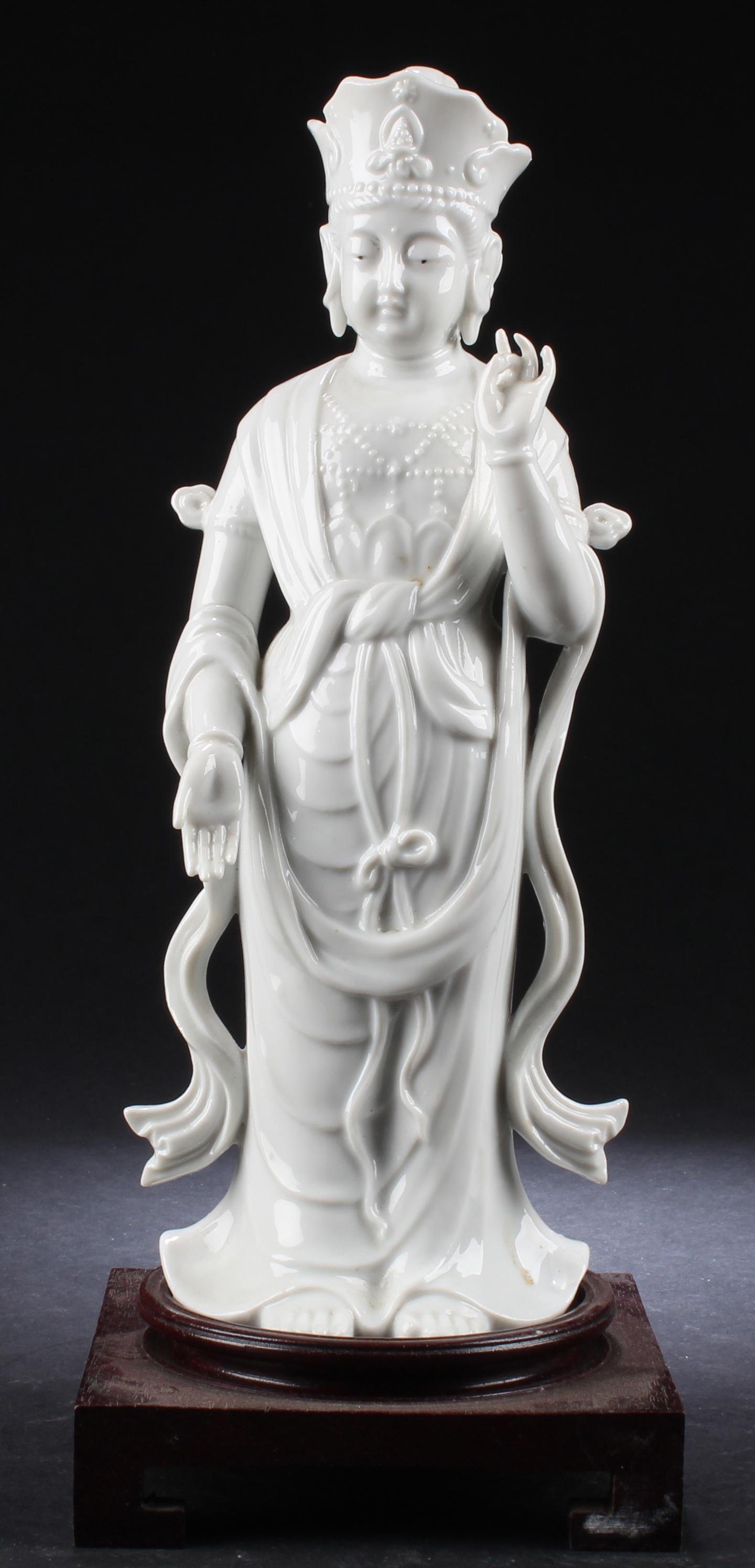 An Old Chinese Blanc De Chines Standing Bodhisattva