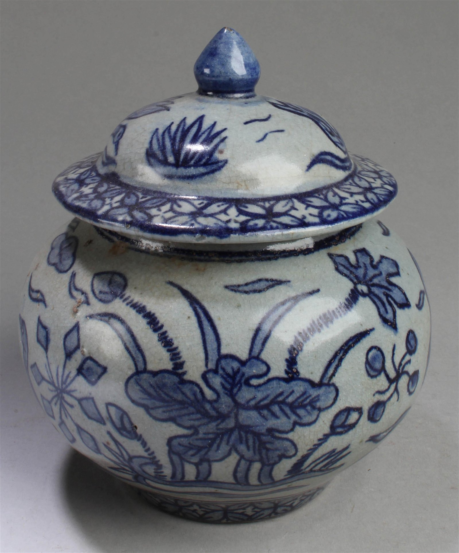 A Korean Blue & White Porcelain Jar with Lid