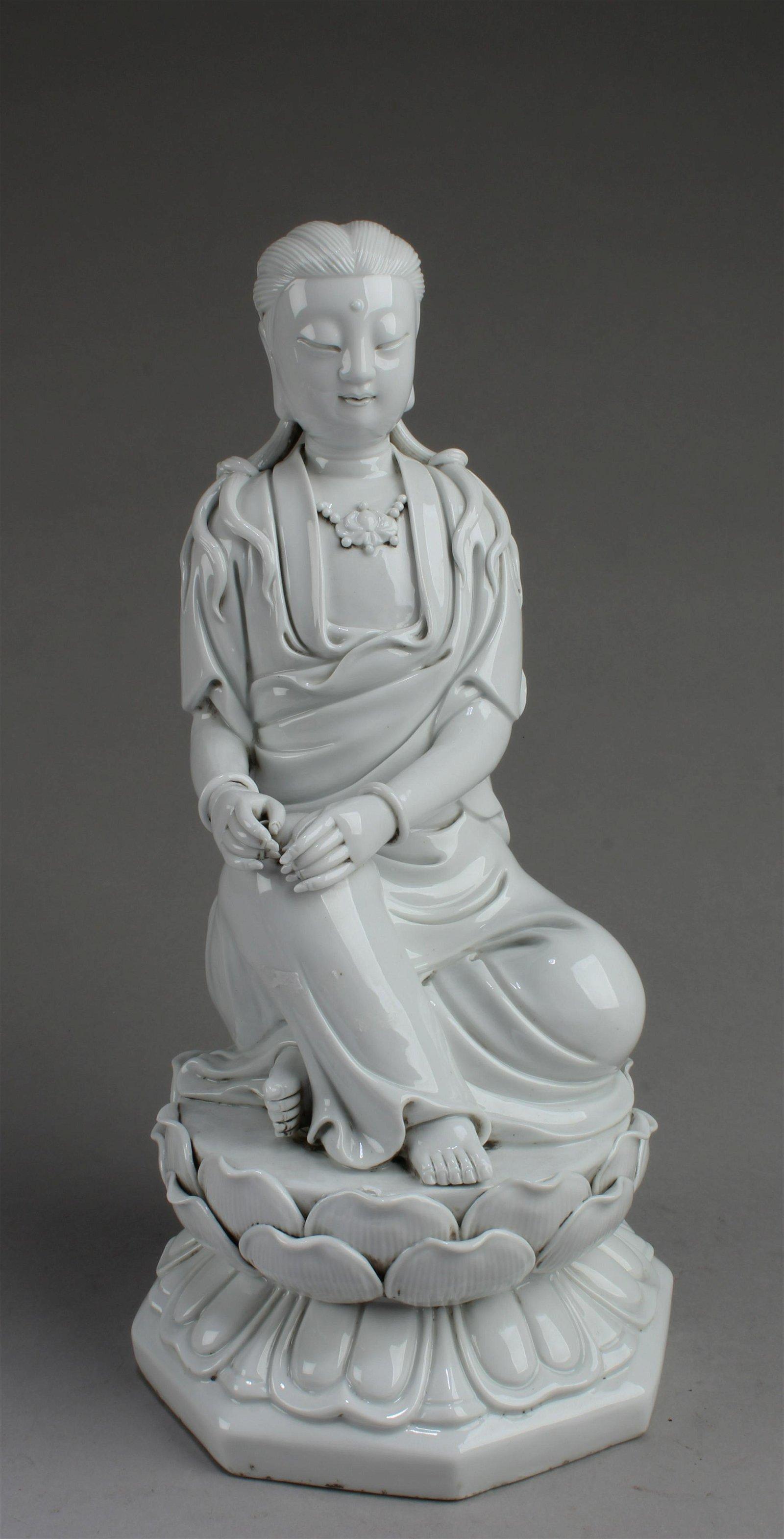 Chinese Blanc De Chine Bodhisattva Statue