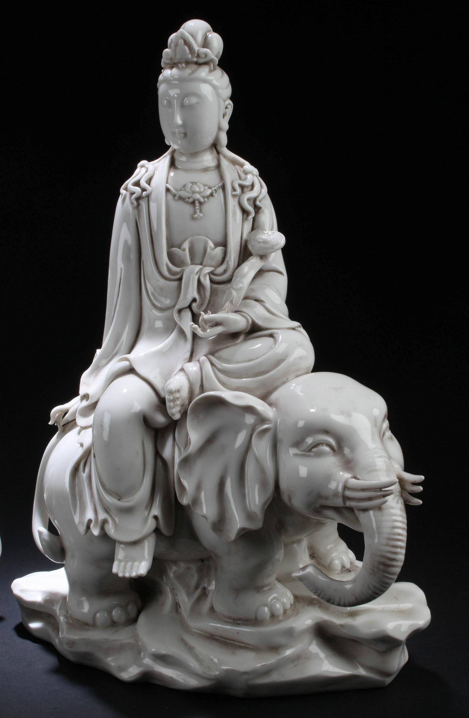 A Pair of Chinese Blanc De Chine Guanyin Statues