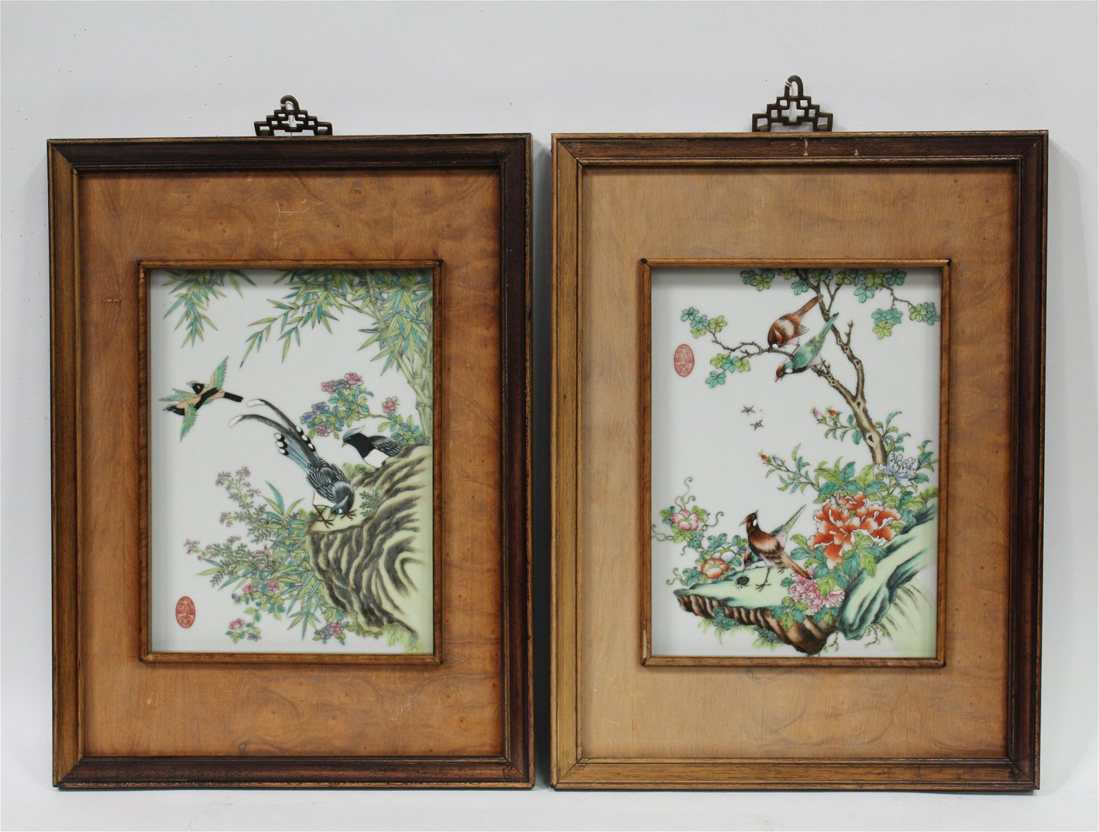 A Pair of Framed Chinese Porcelain Plaque
