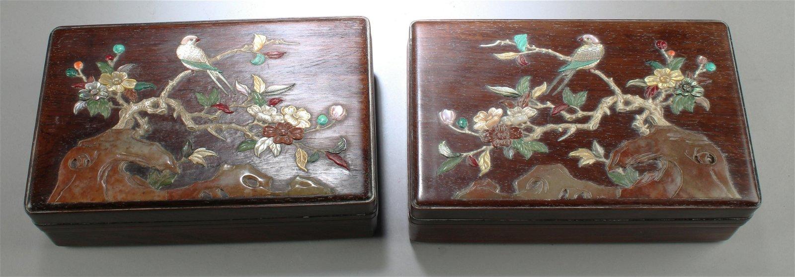 Two Chinese Hardwood Rectangular Box