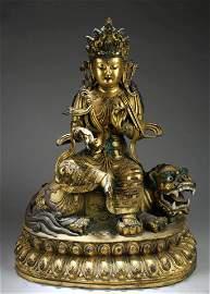 A Large Chinese Gilt Bronze Bodhisattva Statue