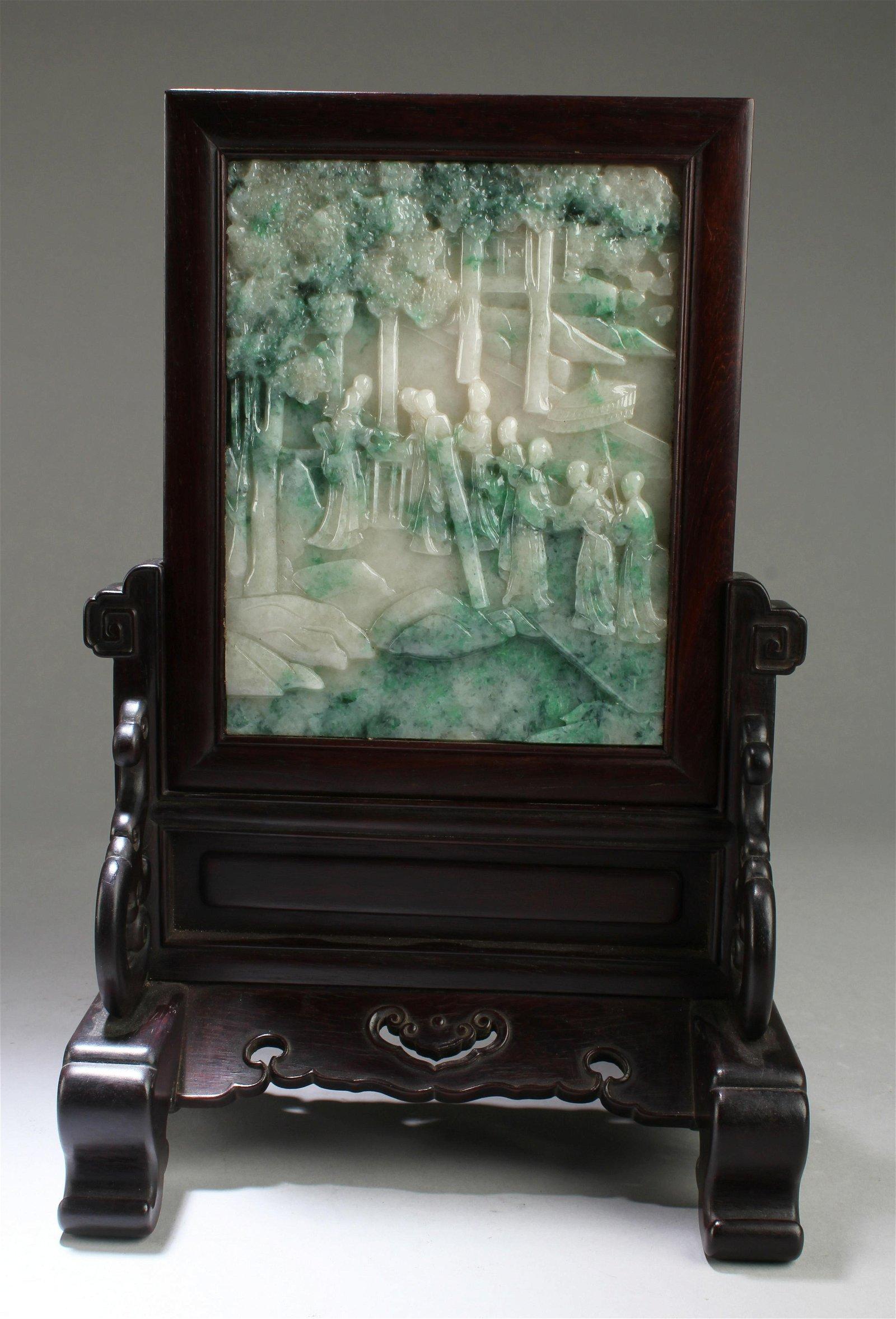 Chinese Rectangular Hardwood Table screen with Jade