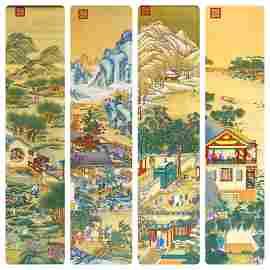 A Set of Four Hardwood Framed Porcelain Plaques