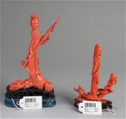 Two Antique Coral Figural Carvings, 20th Century