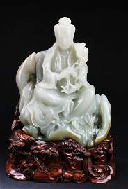 Chinese Carved Nephrite Jade Guanyin Statue, GIA Report