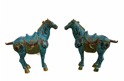 Old Pair of Carved Wooden with Enamel FaLangCai Horse