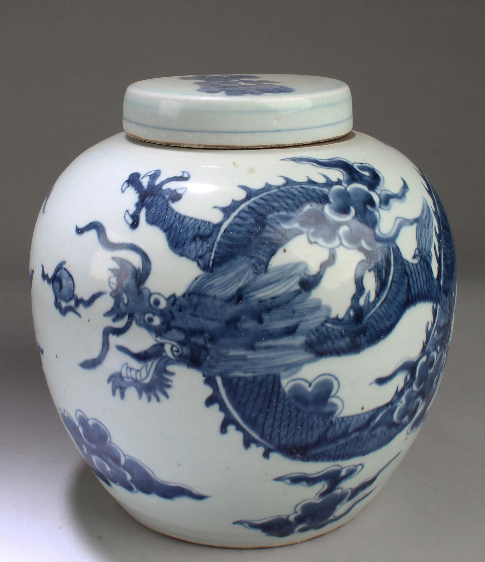 Chinese Blue & White Porcelain Jar with Cover