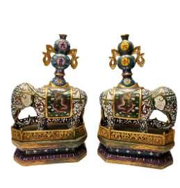 Antique Pair of Cloisonne Elephant Statues