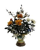 Cloisonne Flower Pot with Flowers of Various Materials