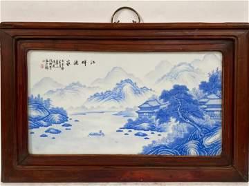 A Hardwood Framed Porcelain Plaque