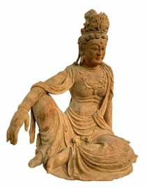 A Large Carved Wooden Bodhisattva Statue