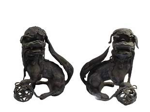 Antique Pair of Bronze Foo Lion Statues
