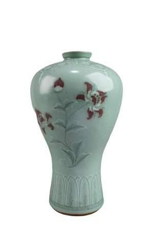 An Iron Red Korean Porcelain Vase