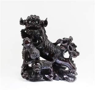 Chinese Carved Hardwood Foo Dog Display
