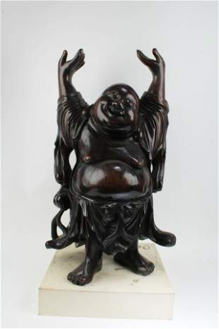 Antique Carved Hardwood Happy Buddha Statue