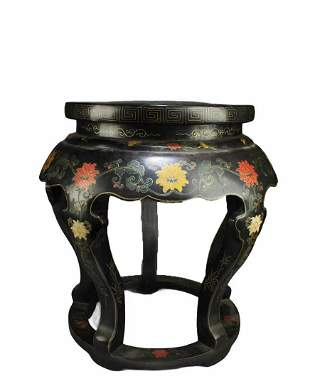 A Lacquer Stool with Cloisonne Inlay