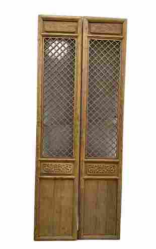 Two Large Chinese Antique Wooden Door Panels