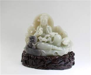 Chinese Carved Nephrite Jade Guanyin Figurine, GIA