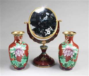 A Pair of Chinese Cloisonne Vase and One Cloisonne