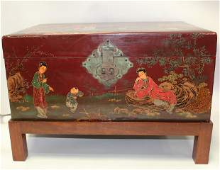 A Leather Lacquer Wrapped Wooden Chest