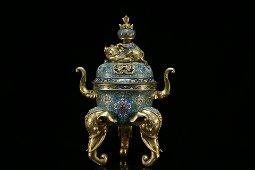 A precious cloisonne gilt bronze tripod cencer