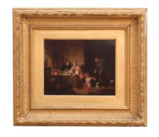 DUTCH GILTWOOD FRAMED OIL ON BROAD PAINTING